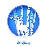 Paper cut deer in snowy birch forest. Merry Christmas Greeting card. Origami winter season. Happy New Year. Birch trunk Royalty Free Stock Images