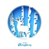 Paper cut deer in snowy birch forest. Merry Christmas Greeting card.  Stock Image