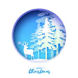 Paper cut deer in snowy Christmas tree forest. Merry Christmas Greeting card. Origami winter season. Happy New Year. Paper style. Blue background. Circle cave Stock Photography