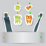 Paper cut dental health teeth icon with copy space Stock Photography