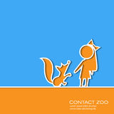 Paper cut design girl and little fox vector illustration Royalty Free Stock Images