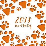 Paper cut dog footprints. Happy Chinese New Year Greeting Card. stock illustration