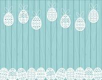 Paper cut Easter eggs hanging on blue Wooden background vector illustration