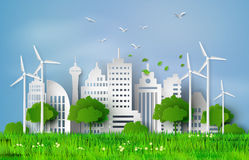 Paper cut of eco concept. Royalty Free Stock Photo