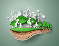 Paper cut of eco. Concept of eco with family.paper cut style stock illustration