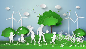 Paper cut of eco. Concept of eco with family.paper cut style Stock Photo