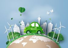 Paper cut of eco concept. Stock Image