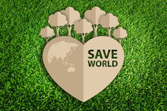 Paper cut of eco. On green grass Stock Images