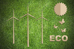 Paper cut of eco on green grass Royalty Free Stock Images