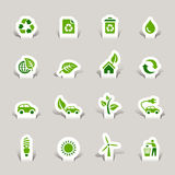 Paper Cut - Ecological Icons. 16 ecological and recycling icons set Royalty Free Stock Image
