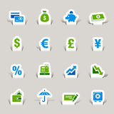 Paper Cut - Finance icons Stock Images
