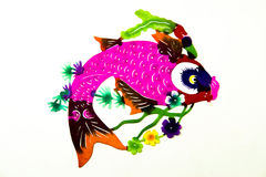 Paper cut fish. In bright colors isolated on white Royalty Free Stock Images