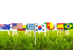 Paper cut of flags on grass for Soccer championship 2014 Stock Images