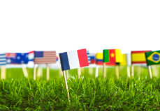 Paper cut of flags on grass for Soccer championship 2014 Royalty Free Stock Image