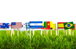 Paper cut of flags on grass for Soccer championship 2014 Royalty Free Stock Images