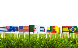 Paper cut of flags on grass for Soccer championship 2014 Royalty Free Stock Photo