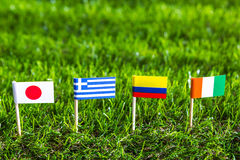 Paper cut of flags for Soccer championship 2014 , group C Stock Image