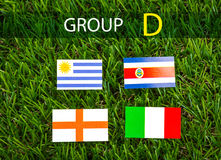 Paper cut of flags for Soccer championship 2014 , group D Stock Photography