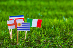 Paper cut of flags for Soccer championship 2014 , group D Royalty Free Stock Image