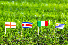 Paper cut of flags for Soccer championship 2014 , group D Stock Images