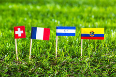 Paper cut of flags for Soccer championship 2014 , group E Stock Photo