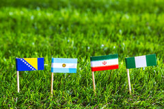 Paper cut of flags for Soccer championship 2014 , group F Royalty Free Stock Photos