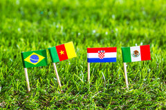Paper cut of flags for Soccer championship 2014 , group A Stock Photos