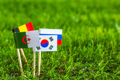 Paper cut of flags for Soccer championship 2014 , group H Stock Photos