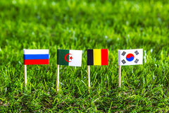 Paper cut of flags for Soccer championship 2014 , group H Royalty Free Stock Photo
