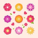 Paper cut flowers - set of modern vector colorful objects. Isolated on pink background. High quality collection of different lovely bright buds with leaves Stock Images