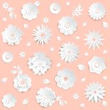 Paper cut flowers - set of modern vector colorful objects. Isolated on pink background. High quality collection of lovely white buds with leaves and petals Royalty Free Stock Image