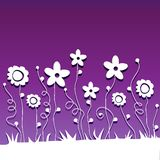 Paper  cut flowers on ultraviolet background Royalty Free Stock Photo