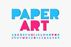 Paper cut font. Alphabet letters and numbers royalty free illustration