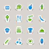 Paper Cut - Food Icons. 16 food and restaurant icons set royalty free illustration