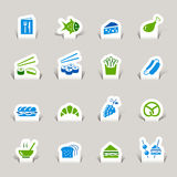 Paper Cut - Food Icons. 16 food and restaurant icons set Royalty Free Stock Photo