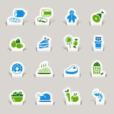 Paper Cut - Food Icons. 16 food and restaurant icons set stock illustration