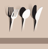 Paper cut fork, spoon and knife. Fork, spoon and knife on paper background. Additional Vector eps10. No gradient mesh. High Resolution JPG Stock Photo