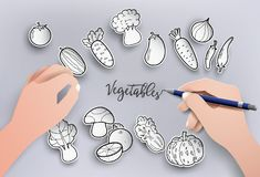 Paper cut and freehand drawing vegetables on gray background. Paper cut and freehand drawing vegetables,vector illustration Royalty Free Stock Photography