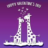 Paper cut giraffes in love, Valentine`s Day card on ultraviolet. Paper cut giraffes in love, cute Valentine`s Day card on ultraviolet background Stock Photo