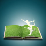 Paper cut of girl doing yoga Royalty Free Stock Photos