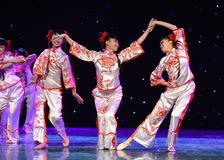 The paper-cut girls-The national folk dance Royalty Free Stock Photography