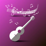 Paper Cut Guitar with Music Notes. And Staff on Purple Background Royalty Free Stock Photo
