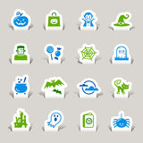 Paper Cut - Halloween Icons. 16 Halloweenvector icons set Stock Image