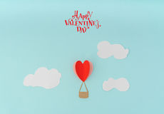 Paper cut of Heart Hot air balloons for Valentine's Day celebrat royalty free stock images