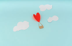 Paper cut of Heart Hot air balloons for Valentine's Day celebrat Royalty Free Stock Image