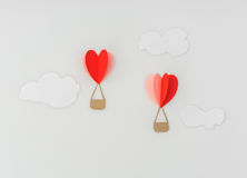 Paper cut of Heart Hot air balloons for Valentine's Day celebrat Stock Images