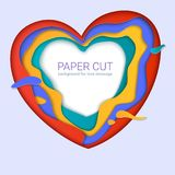 Paper-cut heart shapes with shadow. Realistic multi layers, carving of paper. Print template for cards with paper cut. Shapes, modern abstract design. 3D Stock Photos