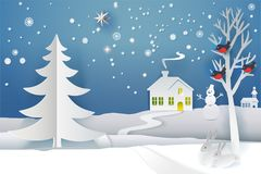 Paper cut Holidays Tree banner. Paper cut and craft winter landscape with evergreen tree, house, snowman, moon and snowflakes. Holiday nature and christmas tree Stock Images