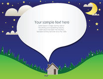 Paper cut home and landscape. At night Stock Photo