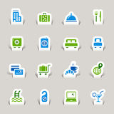 Paper Cut - Hotel icons Royalty Free Stock Images
